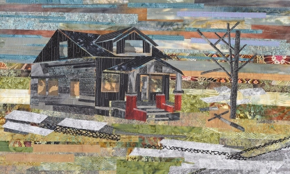 "Carole Ann Frocillo | Remnants of Home Hand dyed and commercial fabric, raw edge applique, 2014 18"" X 30"""