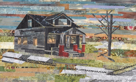 """Carole Ann Frocillo   Remnants of Home Hand dyed and commercial fabric, raw edge applique, 2014 18"""" X 30"""""""