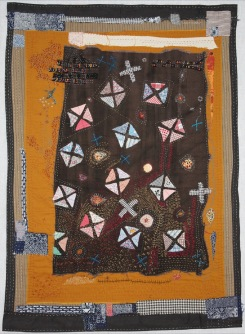 """Helen Geglio   Lost Art of Mending 2 Cotton, linen, hand embroidered and stitched, 2013 38"""" x 37"""""""