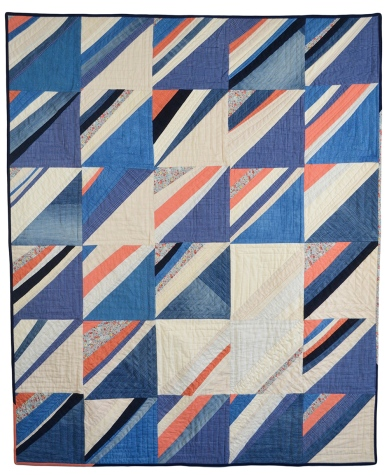 """Jamie Lyn Kara   Upstream Cotton, linen, raw silk, French cotton prints, demin, corduroy, red onion skin dyed linen and cotton, woad dyed cotton 51"""" X 42"""""""
