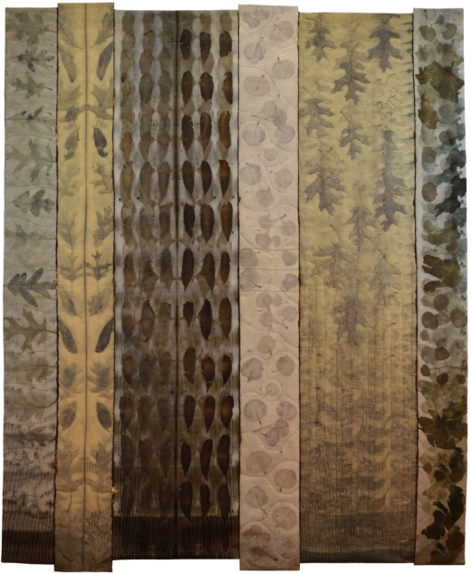 """Julia Voake   Home Is Where The Heart Is, But Grow Where You Are Planted Eco-dyed wool fabric, hand dyed threads & yarn, machine pieced and hand quilted 51"""" X 61"""""""