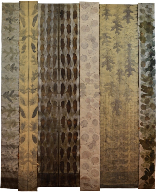 "Julia Voake | Home Is Where The Heart Is, But Grow Where You Are Planted Eco-dyed wool fabric, hand dyed threads & yarn, machine pieced and hand quilted 51"" X 61"""