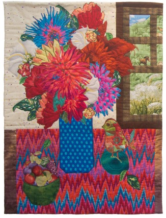 Katherine Simon Frank   Still Life with Dahlias Broderie Perse method of applique embroidery, 2015