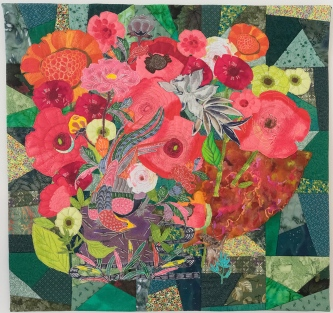 Katherine Simon Frank   Poppy Bower Broderie Perse method of applique embroidery, 2015