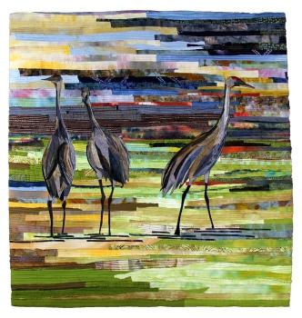 Pat Bishop, Gawking Cranes Raw edge applique, silk, cotton, 2010