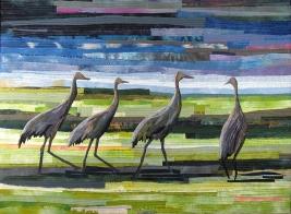 Pat Bishop | Walk of the Cranes Raw edge applique, silk, cotton, 2010