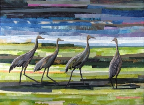 Pat Bishop | Walk of the Cranes Raw edge applique, silk, cotton, 2010