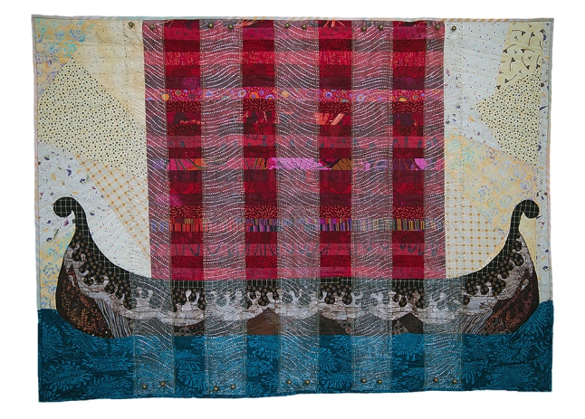 "Ryn Pitts | My Journey to Northern Lights and Midsummer Nights Raw edge applique, cotton and organza, free motion quilting with cotton threads, 2015 45"" X 35"""